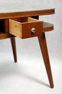 stolik, karciak, vintage, art deco, Czechosłowacja, lata 50.