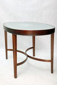 bukowy stolik kawowy retro, vintage, szklany blat, dania, lata 40.