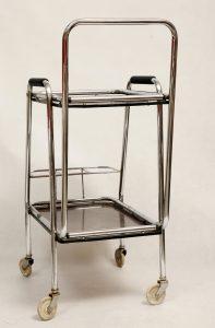 wózek barowy vintage, bauhaus, lata 70.