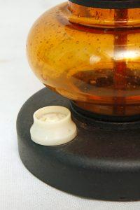 szklana lampa podłogowa, horbowy, lata 70.