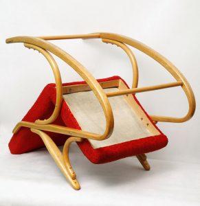 fotel bujany, thonet, ton, lata 60.