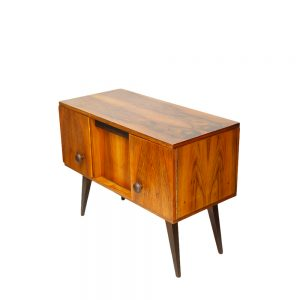 drewniana szafka retro, orzechowa komoda vintage, polska, prl, deign, lata 60.